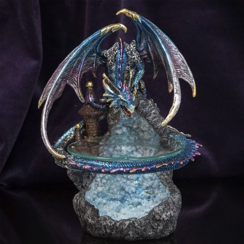 Blue Dragon Geode Decorative Oil Burner - Mystic Legends Dragon Melt Burner Home Ornament